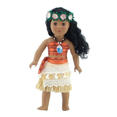 18 Inch Doll Clothes - Six-Piece Moana-Inspired Outfit with Accessories - fits American Girl ® Dolls