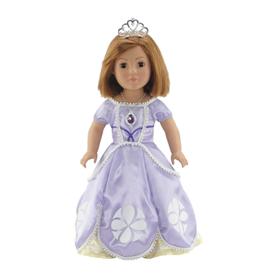 18 Inch Doll Clothes - Princess Sofia-Inspired Ball Gown and Accessories - fits American Girl ® Dolls