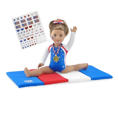 18-inch Doll Clothes - Gymnastics Leotard plus Tumbling Mat and Hair Bow - fits American Girl ® Dolls