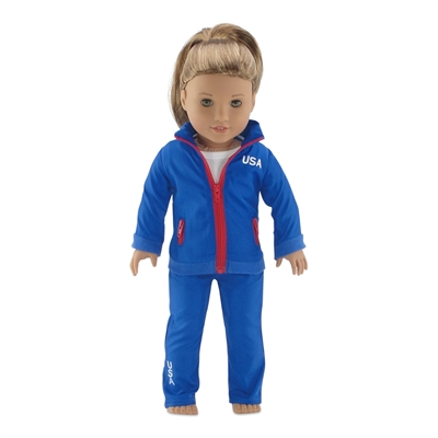 18-inch Doll Clothes - Olympic 2-piece Warm Up Outfit - fits American Girl ® Dolls
