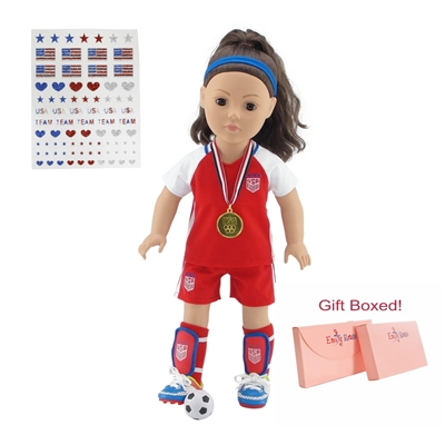 18-inch Doll Clothes - 7-Piece Soccer Outfit and Accessories Plus Gold Medal - fits American Girl ® Dolls