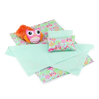 18 Inch Doll Accessories - Reversible Owl Print Doll Bedding Set - fits American Girl ® Dolls