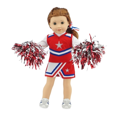 18-inch Doll Clothes - Cheerleader Outfit with Pom Poms and Gym Shoes - fits American Girl ® Dolls