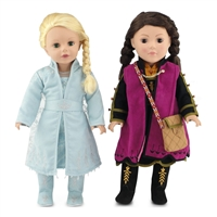 18-inch Doll Clothes - Princess Elsa and Anna Frozen 2 Inspired Outfit Set - fits American Girl ® Dolls