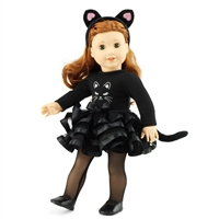 18-Inch Doll Clothes - Black Cat Costumer Outfit with Headband - fits American Girl ® Dolls