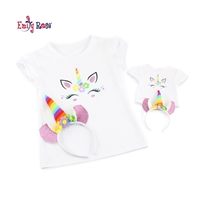 18-Inch Doll Clothes - Girl and Doll Matching Unicorn T-Shirt and Headband Set - fits American Girl ® Dolls
