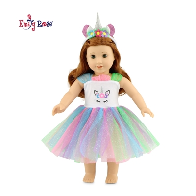 18-Inch Doll Clothes - Unicorn Dress Outfit with Headband - fits American Girl ® Dolls