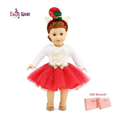 18 Inch Doll Clothes - Holiday Tutu Sparkle Outfit Glittery Shoes - fits American Girl ® Dolls