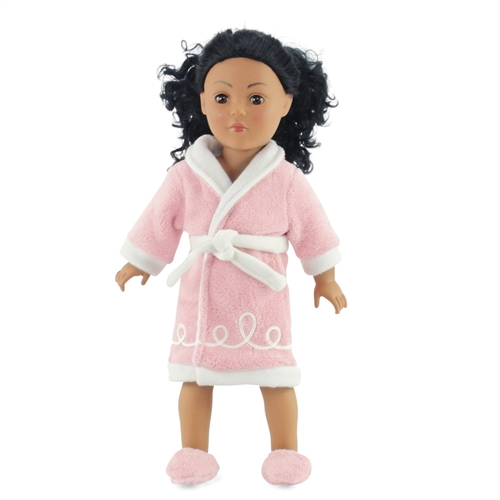 18-inch Doll Clothes - Pink Fuzzy Chenille Style Robe plus Matching ... e676d76bd