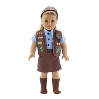 18-inch Doll Clothes - Brownie Uniform - Brown Vest, Skirt, Hat and Socks plus Blue Shirt - fits American Girl ® Dolls