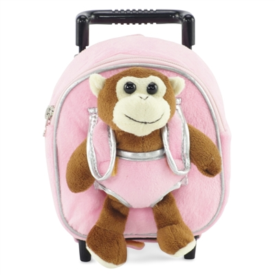 18-inch Doll Accessories - Pink Backpack Luggage plus Detachable Monkey - fits American Girl ® Dolls