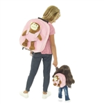 18-inch Doll Accessories - Pink Doll Backpack Luggage plus Detachable Monkey w/ Matching Kid's Backpack and Monkey - fits American Girl ® Dolls