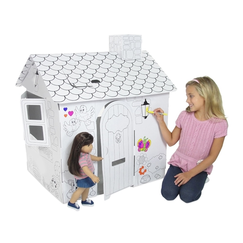 297814fbb372d 18-inch Doll Accessories - Folding Cardboard Doll House - Colorable - fits  American Girl ® Dolls