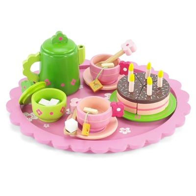 18-inch Doll Accessories - Wooden Multi-Colored Tea Set with Cake - fits American Girl ® Dolls
