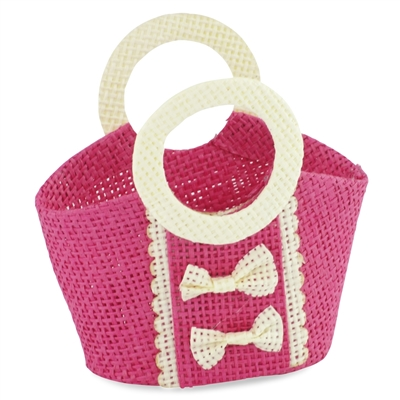 18-inch Doll Accessories - Pink Woven Purse with Off-White Trim and Bow Pattern - fits American Girl ® Dolls