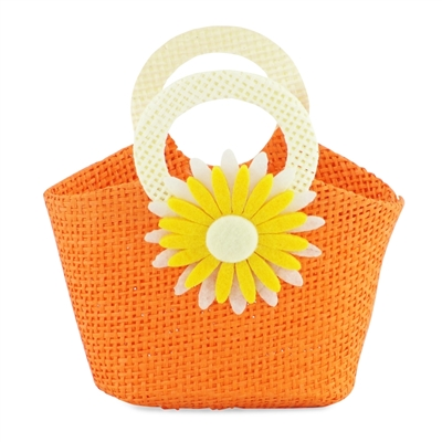 18-inch Doll Accessories - Orange Woven Purse with Yellow Sunburst Flower Pattern - fits American Girl ® Dolls