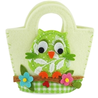 18-inch Doll Accessories - Off-White Felt Purse/Beach Bag with Multicolored Owl Pattern -fits American Girl ® Dolls