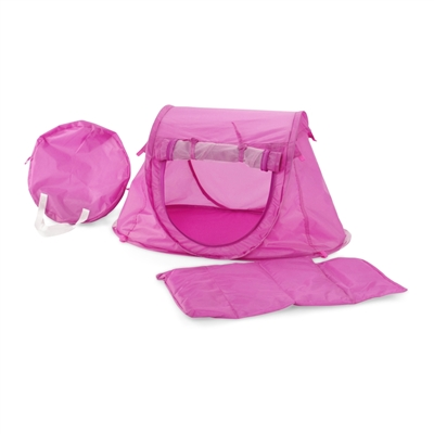 18-inch Doll Accessories - Orchid Pink Pop-Up Tent and Sleeping Bag with Carry Case - fits American Girl ® Dolls