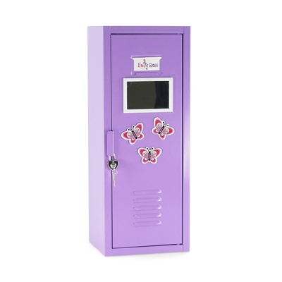 18 Inch Doll Furniture Purple School Locker With Accessories Fits American Girl Dolls