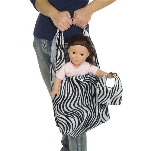 288b7857e 18-inch Doll Accessories - Zebra Print Doll Carrier Bag plus Shopping  Handbag and Chain - fits American Girl ® Dolls