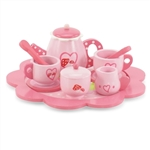 18-inch Doll Accessories - Gorgeous Pink Tea Set with Tray, Teapot, Sugar Bowl and 2 Teacup Settings - fits American Girl ® Dolls