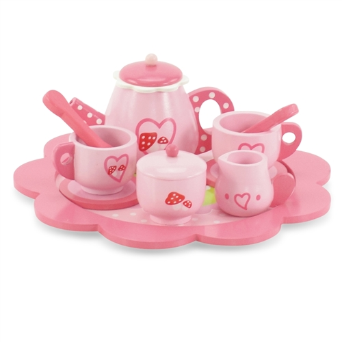 18 Inch Doll Accessories Gorgeous Pink Tea Set With Tray Teapot Sugar Bowl And 2 Teacup