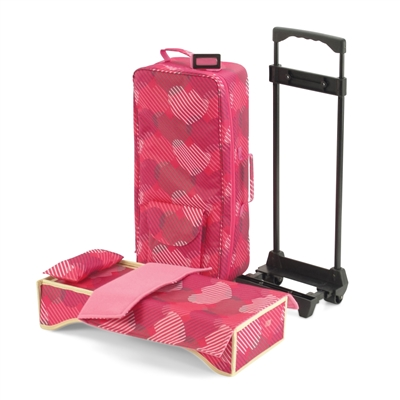 18-inch Doll Accessories - Travel Carrier / Backpack with Trolley and Bedding - fits American Girl ® Dolls