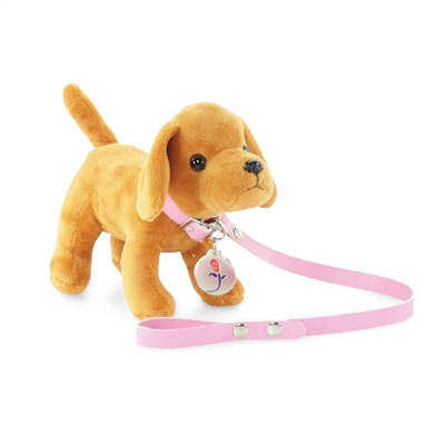 18-inch Doll Accessories - Brown Puppy Dog with Leash and Dog Tag - fits American Girl ® Dolls