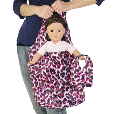 18-inch Doll Accessories - Pink Cheetah Print Doll Tote Bag Plus Matching Doll Purse - fits American Girl ® Dolls