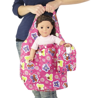 18-inch Doll Accessories - Pink Butterfly Print Doll Tote Bag Plus Matching Doll Purse - fits American Girl ® Dolls