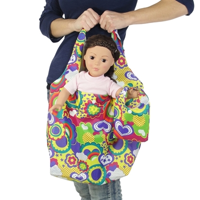 18-inch Doll Accessories - Flowers and Hearts Print Doll Tote Bag Plus Matching Doll Purse - fits American Girl ® Dolls
