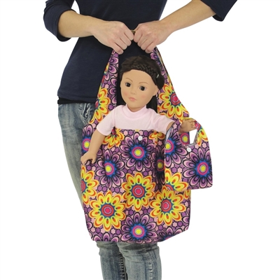 18-inch Doll Accessories - Purple and Yellow Flower Print Doll Tote Bag Plus Matching Doll Purse - fits American Girl ® Dolls