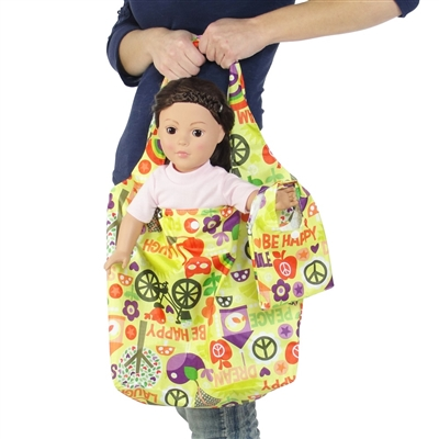 18-inch Doll Accessories - Yellow Love and Peace Print Doll Tote Bag Plus Matching Doll Purse - fits American Girl ® Dolls
