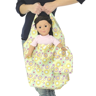 18-inch Doll Accessories - Yelllow with Purple and Blue Print Doll Tote Bag Plus Matching Doll Purse - fits American Girl ® Dolls
