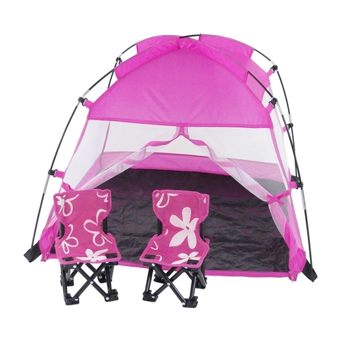18 Inch Doll Accessories   Pink Dining Canopy Camping Tent With Case   Fits  American Girl ® Dolls