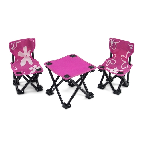 18 Inch Doll Accessories   Two Pink Armless Camping Chairs And Table Set    Fits American Girl ® Dolls