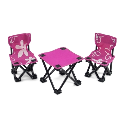 18 Inch Doll Accessories - Two Pink Armless Camping Chairs and Table Set - fits American Girl ® Dolls
