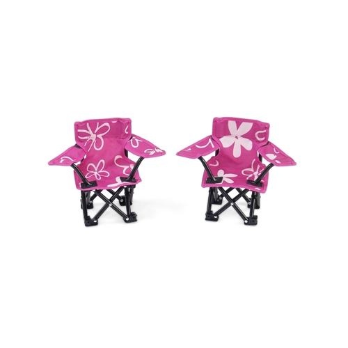 18 Inch Doll Accessories - Two Pink and White Flowered C&ing Chairs - fits American Girl ® Dolls  sc 1 st  Emily Rose Doll Clothes & 18 Inch Doll Accessories - Two Pink and White Flowered Camping ...