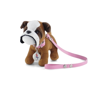 18 Inch Doll Accessories - Bulldog Puppy with Leash, Collar, and Dog Tag - fits American Girl ® Dolls