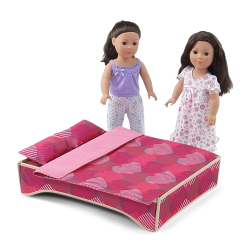 18 Inch Doll Accessories Windowed Travel Two Doll Carrier Bed With Accessories Fits American Girl Dolls