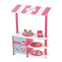 18-inch Doll Furniture - Pink and White Bakery Stand with Baked Goods - fits American Girl ® Dolls