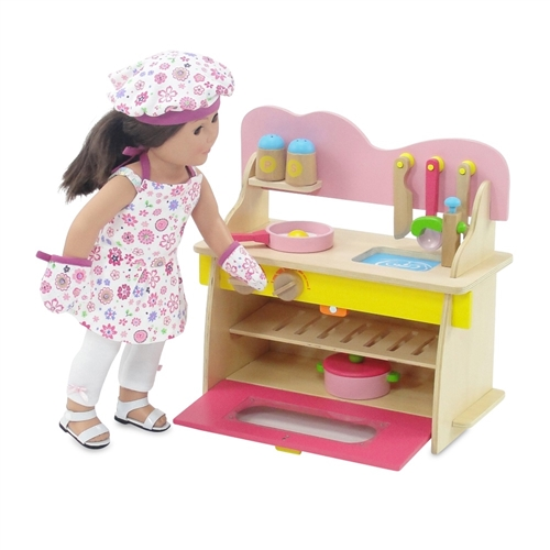 18 Inch Doll Furniture   Multicolored Wooden Kitchen Set With Accessories    Fits American Girl ® Dolls