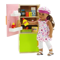 18-inch Doll Furniture - Green Wooden Refrigerator/Freezer with Accessories - fits American Girl ® Dolls