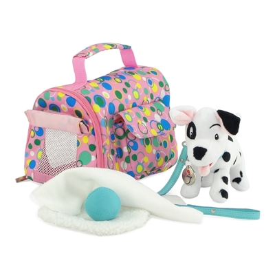 18 Inch Doll Accessories - Pet Carrier and Dalmatian Puppy with Accessories - fits American Girl ® Dolls