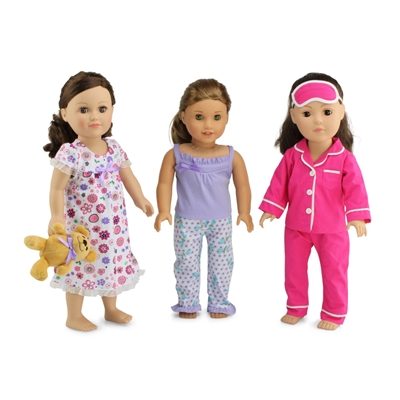 18-Inch Doll Clothes - Value Pack Set of 3 Pajamas PJs with Teddy Bear - fits American Girl ® Dolls