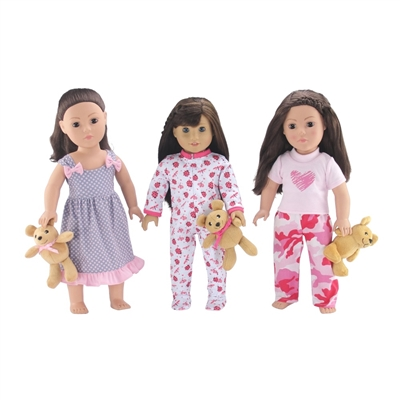 18-Inch Doll Clothes - Value Pack Set of 3 PJs Pajamas with Teddy Bear - fits American Girl ® Dolls