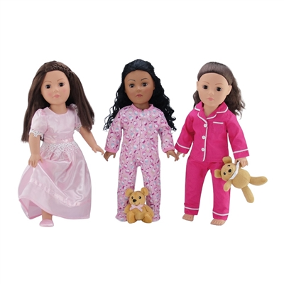 18-Inch Doll Clothes - 3 PJs Pajamas Value Pack Set  with Teddy Bear - fits American Girl ® Dolls