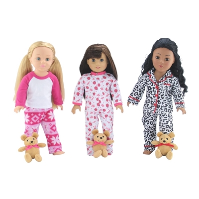 18-Inch Doll Clothes - 3 Pajamas PJs Value Pack Set with Teddy Bear - fits American Girl ® Dolls