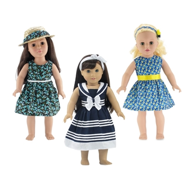 18-Inch Doll Clothes - Set Value Pack 3 Casual Dresses with Accessories - fits American Girl ® Dolls