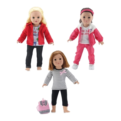 18-Inch Doll Clothes - 3 Pack Casual Clothing Outfit Set - fits American Girl ® Dolls